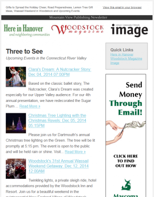 Mountain View Publishing Online – Email Newsletter Sponsorship